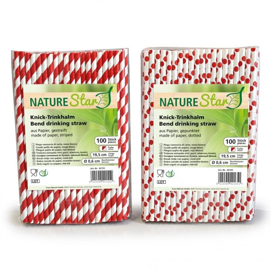 Trinkhalm Aus Papier 100 Stück Rot Weiß Strohhalme Papierstrohhalme Nachhaltig Kochen & Genießen