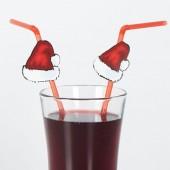 Trinkhalme flexibel, Weihnachtsmütze